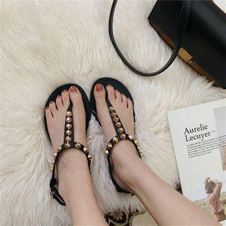 Ankle Strap Studded Flip Flops