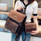 Set: Faux Leather Backpack + Flap Crossbody Bag