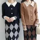 Contrast Collar Buttoned Knit Top