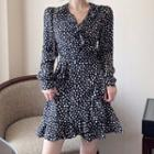 Long-sleeve Dotted Mini A-line Dress / Blazer