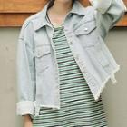 Cropped Denim Jacket Light Blue - One Size