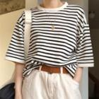 Striped Elbow-sleeve T-shirt T-shirt - Stripe - One Size
