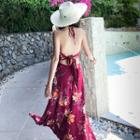 Halter Floral Print Maxi Sundress