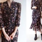 Crinkled Floral Print Chiffon Dress With Sash