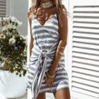 Striped Knotted Strappy Dress