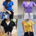 Short-sleeve Drawstring V-neck T-shirt