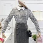 Collared Plaid Knit Top