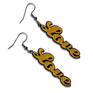 Sweet Yellow Glitter Love Dangle Earrings