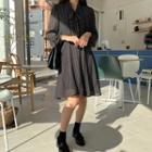 Beribboned Dotted Chiffon Dress