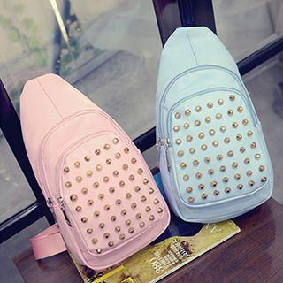 Studded Faux Leather Sling Bag