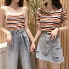 Striped Knit Tank Top / Short-sleeve Striped Knit Top