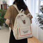 Dog Embroidered Nylon Backpack
