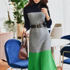 Color Block Long-sleeve Knit Midi Dress