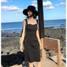 Sleeveless Open-back Sheath Dress