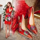 High Heel Embroidery Pumps