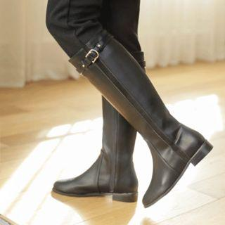 Belted Fleece-lined Long Boots