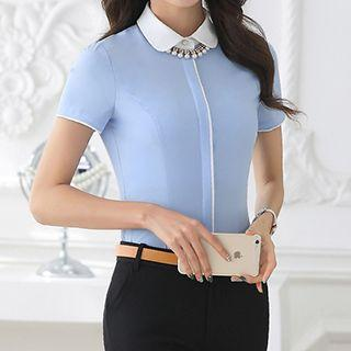 Contrast Collar Short-sleeve Shirt