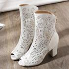 Perforated Peep-toe Block Heel Short Boots