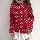 Ruffle Trim Dotted Blouse