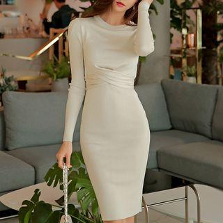 Long-sleeve Tie-back Sheath Dress Almond - One Size