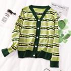 Heart Jacquard Cardigan Green - One Size