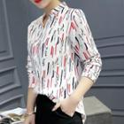 Printed Split Neck Shirt