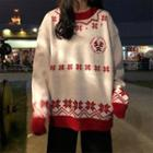 Long-sleeve Christmas Embroidered Knit Sweater
