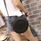 Round Faux Leather Shoulder Bag