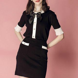 Set: Ribbon-front Buttoned Knit Top + Knit A-line Skirt