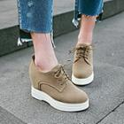 Wedge-heel Lace Up Oxford Pumps