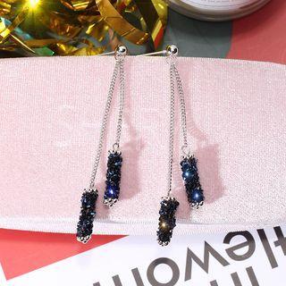 Rhinestone Fringed Earring 1 Pair - Blue - One Size