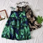 Ruffled-trim Leaves-print Mini Dress