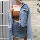 Plain Denim Jacket 978 - As Shown In Figure - One Size
