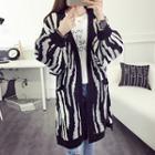 Zebra Print Chunky Knit Long Cardigan