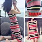 Sleeveless Striped Sheath Knit Dress