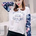 Floral Print-sleeve Lettering Pullover