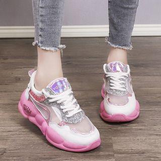 Sequined Transparent Panel Platform Sneakers