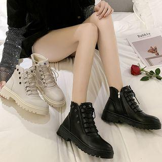 Faux Leather Studded Lace-up Short Boots