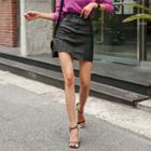 Cutout-hem Coated Miniskirt