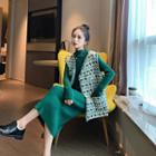 Set: Patterned Sleeveless Cardigan + Midi Knit Dress
