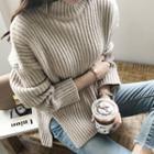 Turtleneck Boxy-hem Rib-knit Sweater