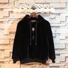 Hooded Applique Velour Jacket