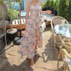 Floral Strappy Maxi Pinafore Dress