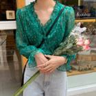 Floral Chiffon Blouse Green - One Size