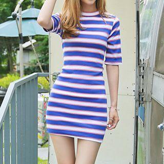 3/4-sleeve Striped Mini Dress