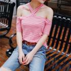 Short-sleeve Cutout Striped Top