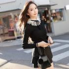 Long-sleeve Lace Collared Knit Top