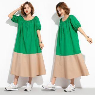 Puff-sleeve Two Tone Midi Dress Emerald - One Size