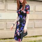 Short-sleeve Floral Sheath Dress