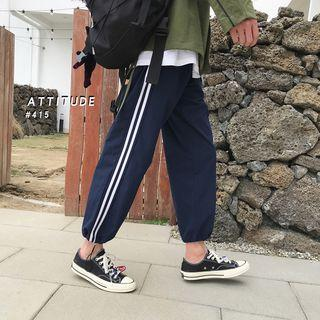 Adjustable Cuffs Contrast Trim Sweatpants